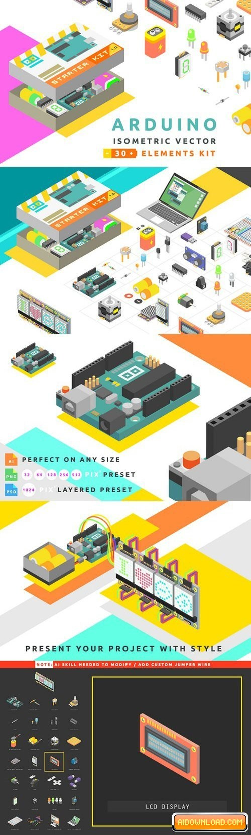 500x1665 Isometric Vector Arduino Starter Kit Free Download Free Graphic