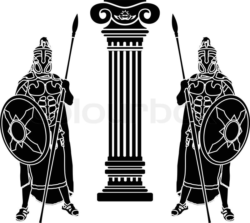 800x715 Two Hoplits And Column. Stencil. Vector Illustration Stock