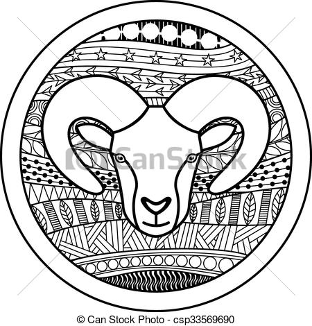 450x470 Zodiac Sign Aries. Vector Illustration Of Abstract Zodiac Sign For