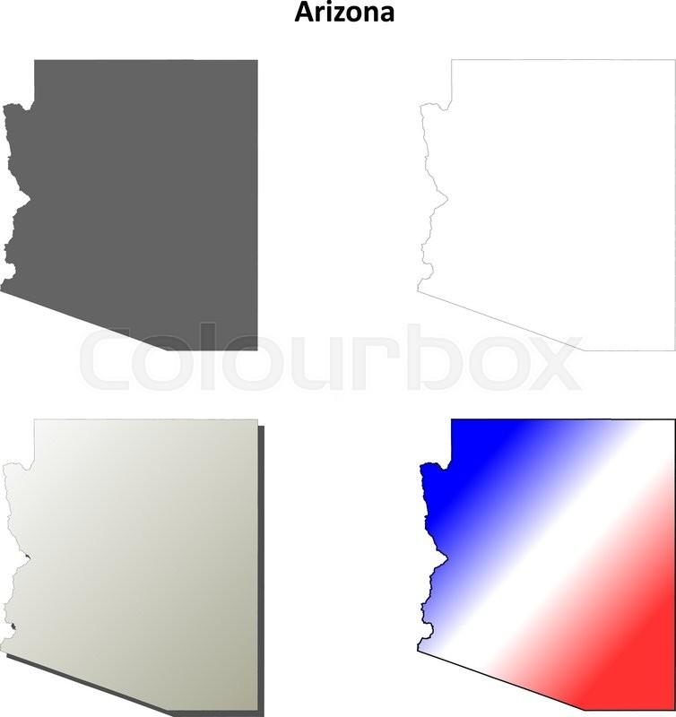 754x800 Arizona State Blank Vector Outline Map Set Stock Vector Colourbox