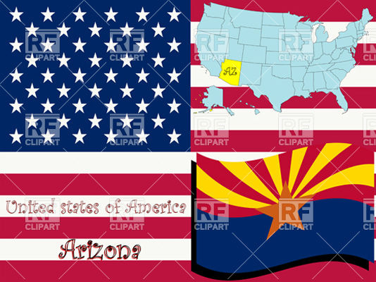534x400 Arizona State Flag And Map Outline Vector Image Vector Artwork