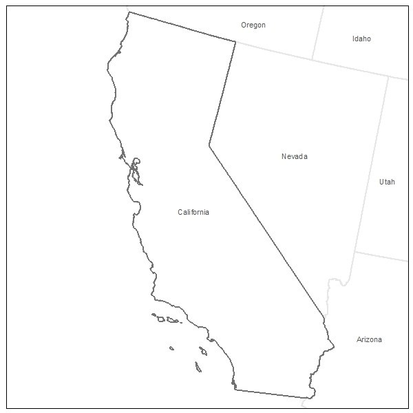 600x600 California Map Silhouette Free Vector Silhouettes Nevada State