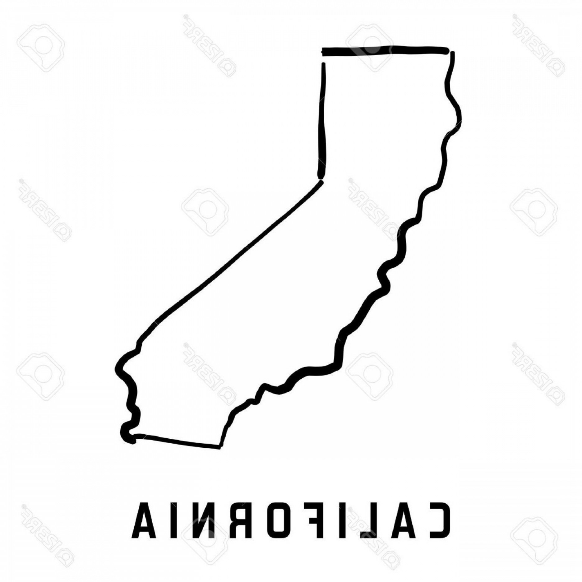 1872x1872 Hd California State Map Outline Smooth Simplified Us Shape Vector