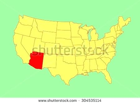 450x335 Maps Arizona State On Map Vector Isolated United States Editable