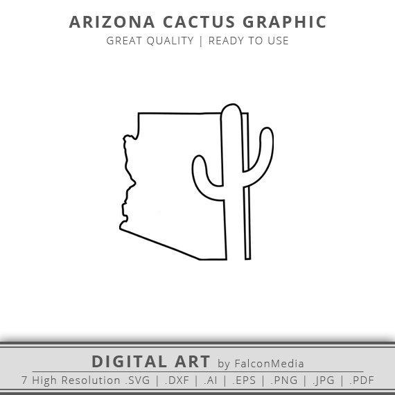 570x570 Arizona Svg Arizona Cactus Svg Arizona State Outline Svg Etsy