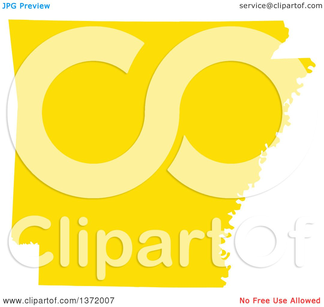 1080x1024 Clipart Of A Yellow Silhouetted Map Shape Of The State Of Arkansas
