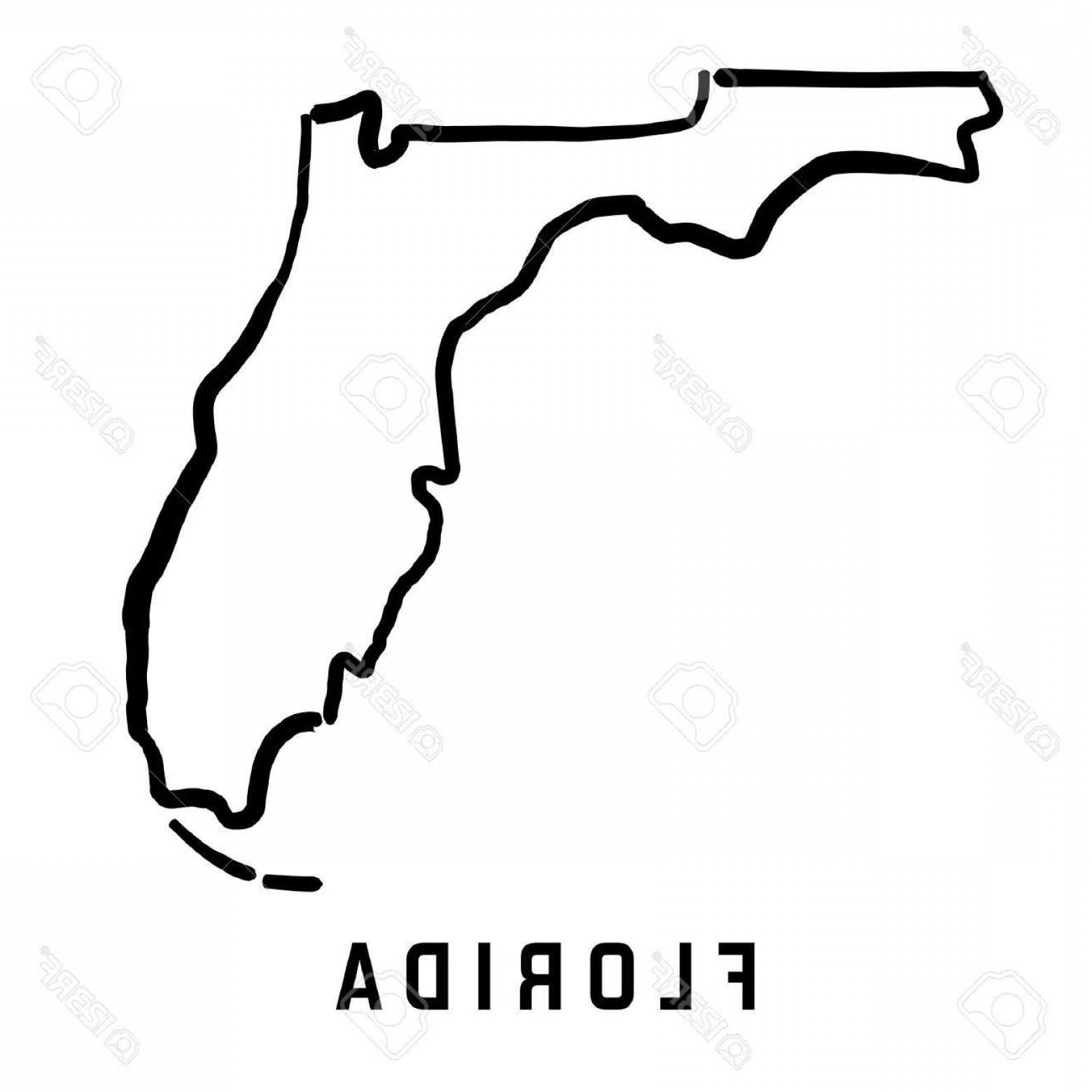 1560x1560 Photostock Vector Florida State Map Outline Smooth Simplified Us
