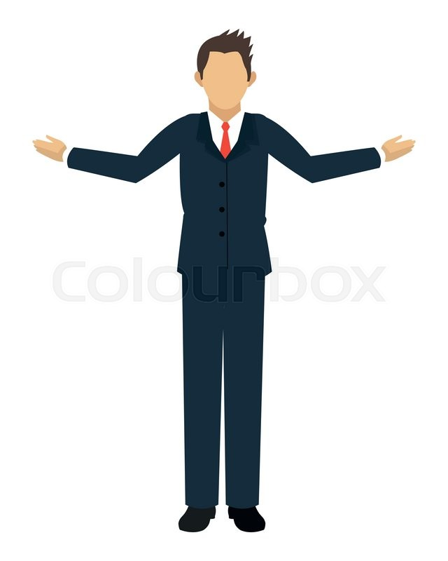 640x800 Flat Design Businessman With Open Arms Icon Vector Illustration