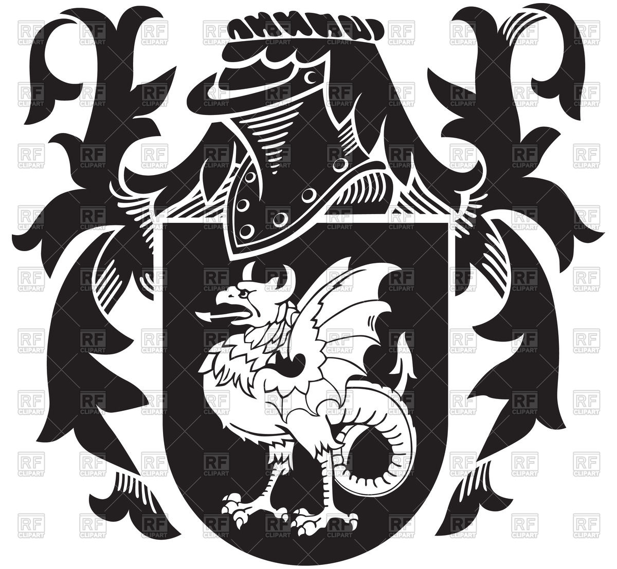 1200x1108 Heraldic Basilisk On Knightly Coat Of Arms Vector Image Vector