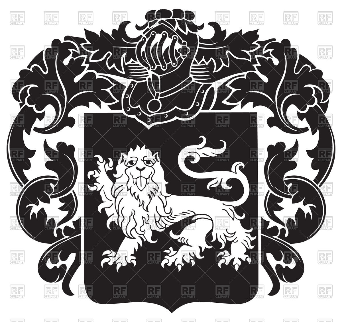 1200x1131 Ornate Heraldic Emblem With Image Of Lion On Shield