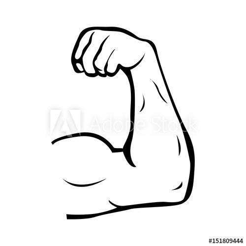 500x500 Strong Power, Muscle Arms Vector Icon. Muscular Hand Symbol For