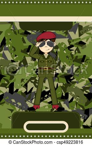299x470 Cute Cartoon British Army Soldier On Camouflage Vector Illustration.