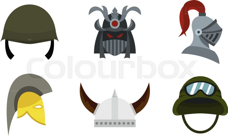 800x480 Army Helmet Icon Set. Flat Set Of Army Helmet Vector Icons For Web