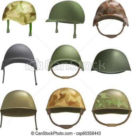 450x462 Army Helmet Soldier Mockup Set, Realistic Style. Army Helmet