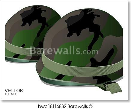 437x364 Art Print Of Us Army Helmet On White Background Vector Barewalls