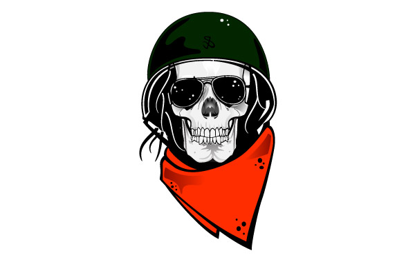 600x380 Free Download Of Skull With Military Helmet Vector Vector Graphic