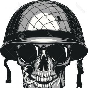 300x300 Skull In An Army Helmet Vector Orangiausa