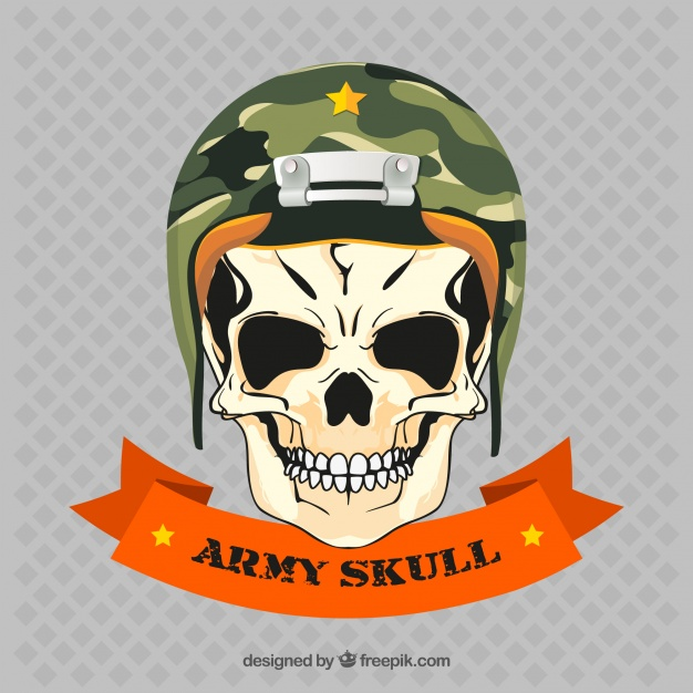 626x626 Skull With Army Helmet Vector Free Download