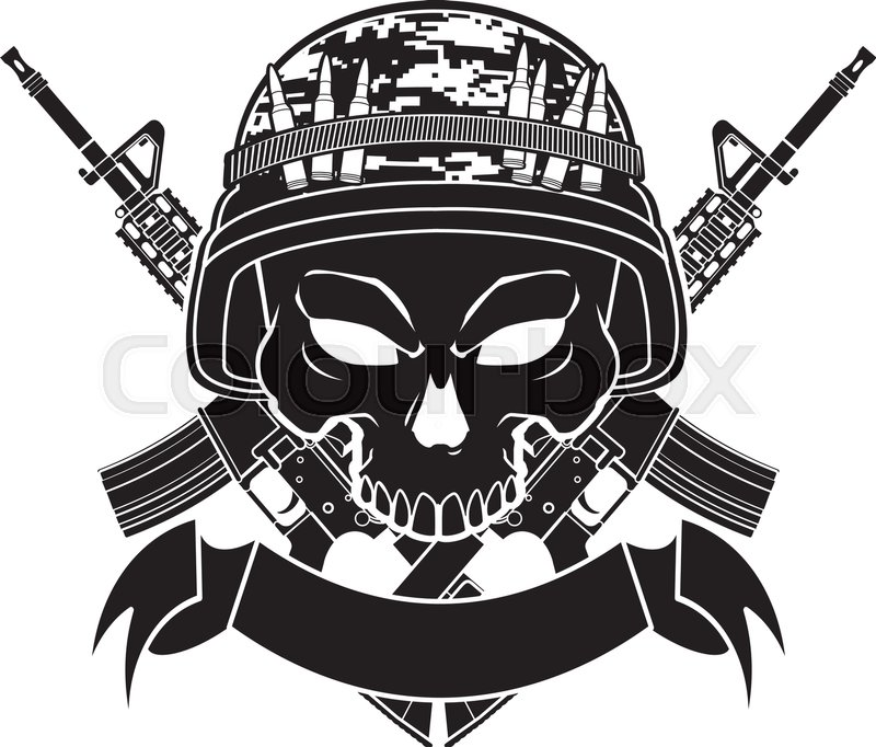 800x682 Skull With Army Helmet Crossing Assault Rifles And Banner Stock