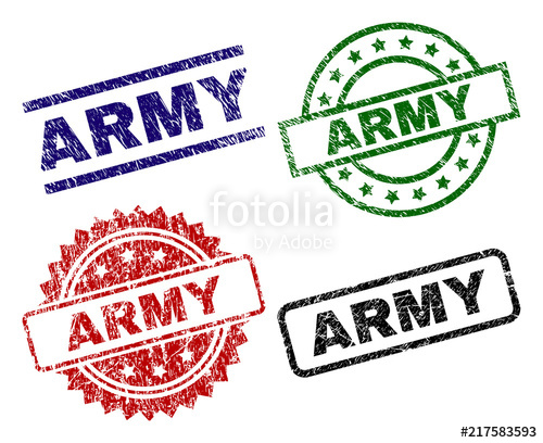 500x408 Army Seal Prints With Corroded Surface. Black, Green,red,blue