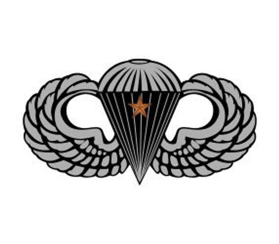 570x498 Us Army Basic Parachutist Badge With 1 Combat Jump Star Vector