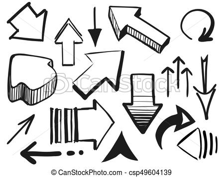 450x357 Hand Drawing Doodle Arrows. Set Of Arrow Doodle On White Background.