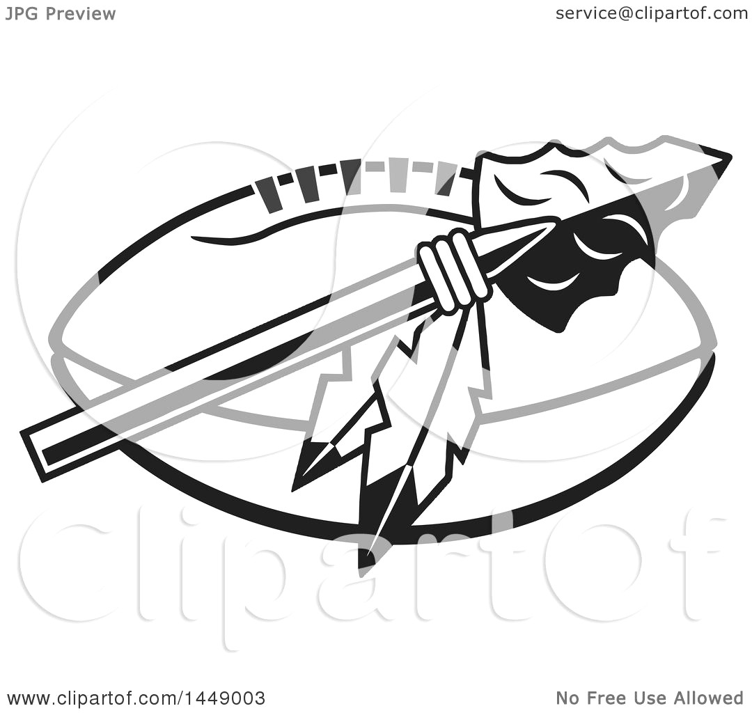 1080x1024 Clipart Of A Black And White Arrowhead With Feathers Over An