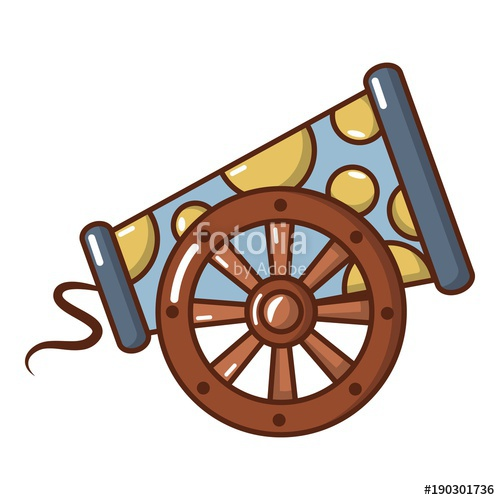 500x500 Cast Iron Cannon Icon, Cartoon Style. Stock Image And Royalty