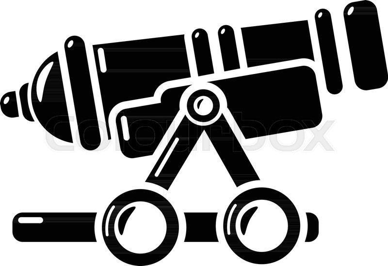 800x550 Coastal Cannon Icon. Simple Illustration Of Coastal Cannon Vector