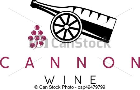 450x291 Abstract Icon Vector Design Template Of Wine Bottles And Cannon.