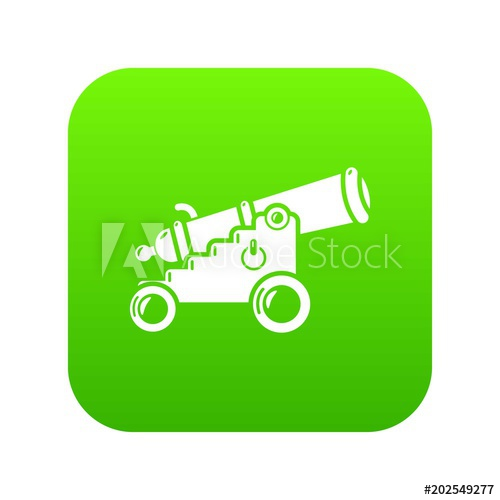 500x500 Menacing Cannon Icon Green Vector Isolated On White Background