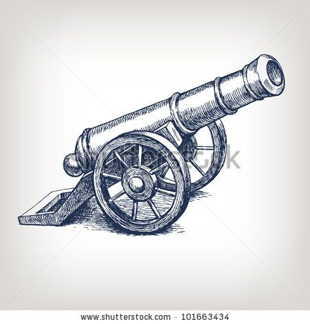 450x470 Vector Ancient Cannon Vintage Ink Engraving Illustration Arm