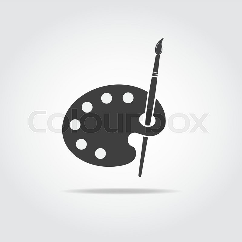 800x800 Simple Black Icon Of Artist Palette And Brush. Stock Vector