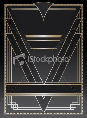 280x380 Art Deco Inspired Background Design With Frame And Banner Elements