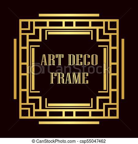 450x470 Art Deco Frame. Vintage Retro Golden Frame In Art Deco Style