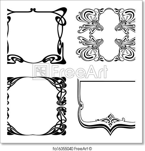 561x581 Free Art Print Of Four Black And White Art Deco Frames. Vector