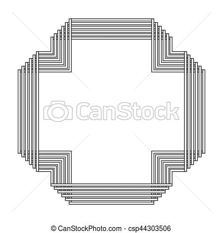 450x470 Grayscale Pattern With Art Deco Frame Vector Illustration.
