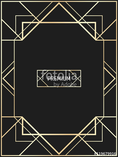 375x500 Vector Geometric Frame In Art Deco Style. Rectangle Vector