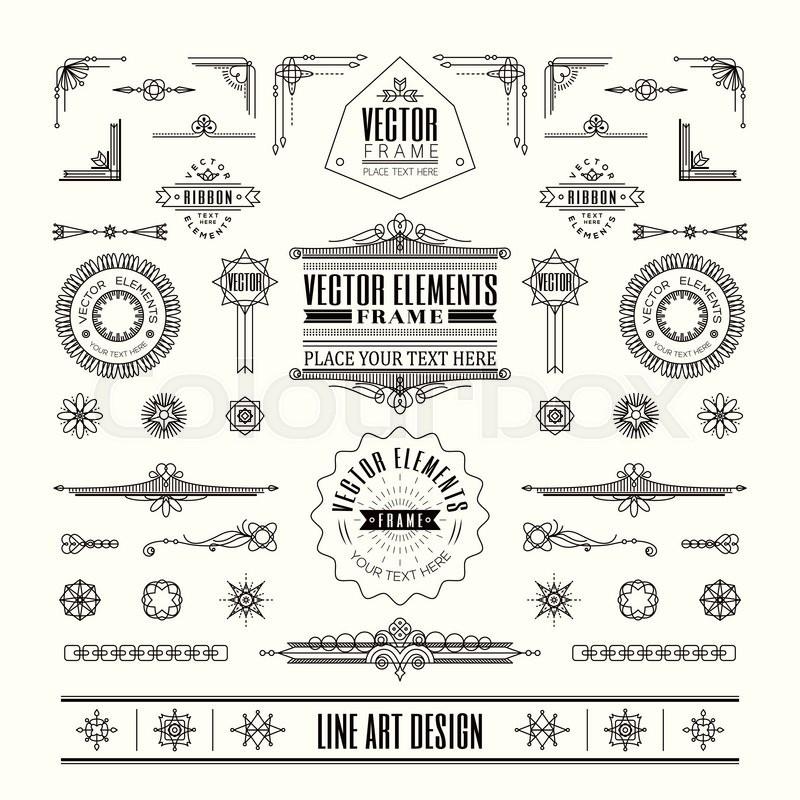 800x800 Set Of Linear Thin Line Art Deco Retro Vintage Design Elements