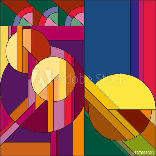 500x500 Art Deco Vector Colored Geometric Pattern. Art Deco Stained Glass