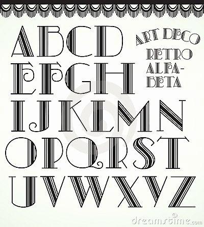 400x445 Modern Art Deco Vector Awesome Art Deco Font Word Art
