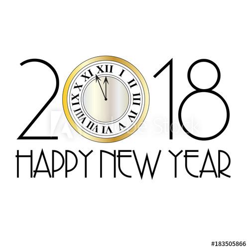 500x500 Happy New Year Metallic Clock Art Deco Vector Graphic