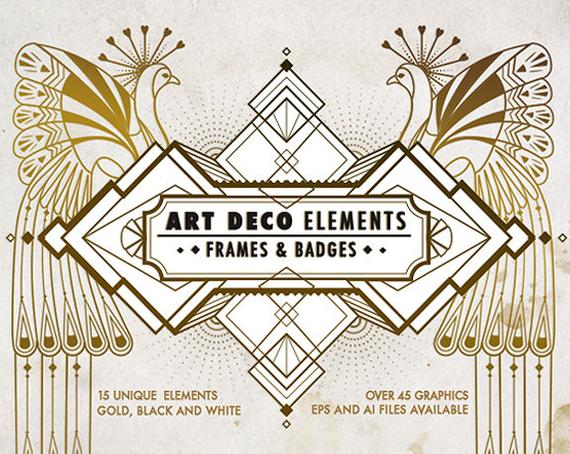 570x454 Art Deco Elements Frames And Badges Design Kit Art Deco Etsy