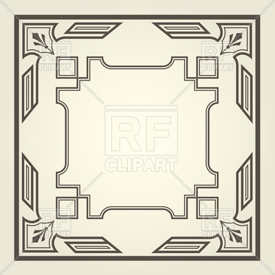 400x400 Art Deco Square Frame With Straight Lines Vector Image Vector