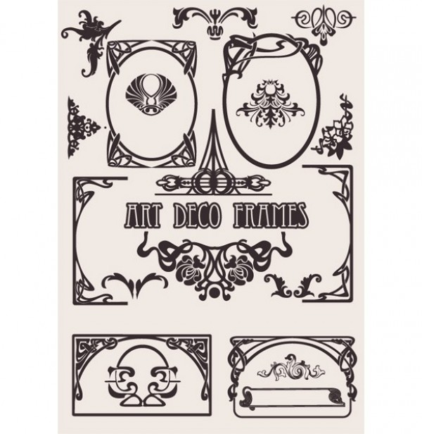 600x616 European Style Art Deco Vector Frames