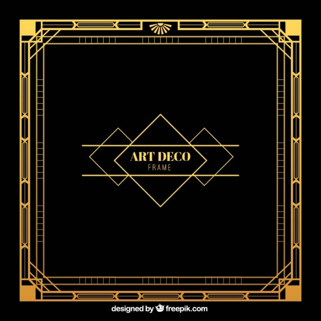 626x626 Golden Frame In Art Deco Style Vector Free Download