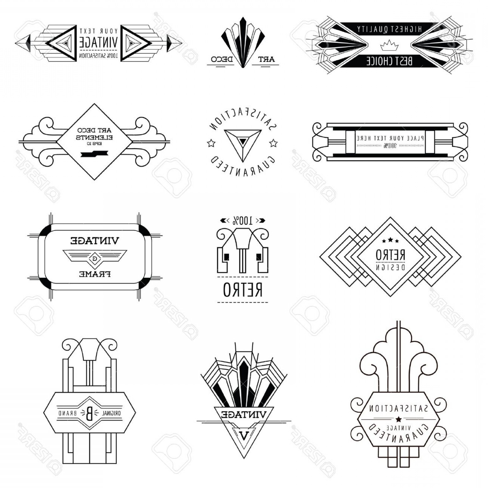 1560x1560 Photostock Vector Art Deco Vintage Frames And Design Elements In