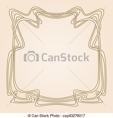 450x470 Vector Art Deco Frame. Vector Invitation Card With Art Deco