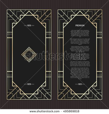 450x470 Vector Geometric Cards In Art Deco Style. Light Golden Flyers