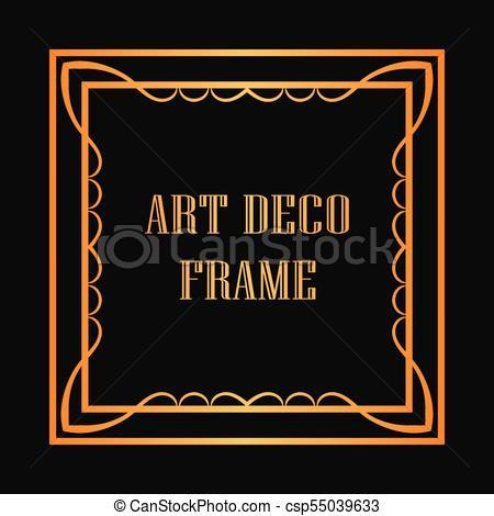450x470 Art Deco Frame. Vintage Retro Golden Frame In Art Deco... Vectors